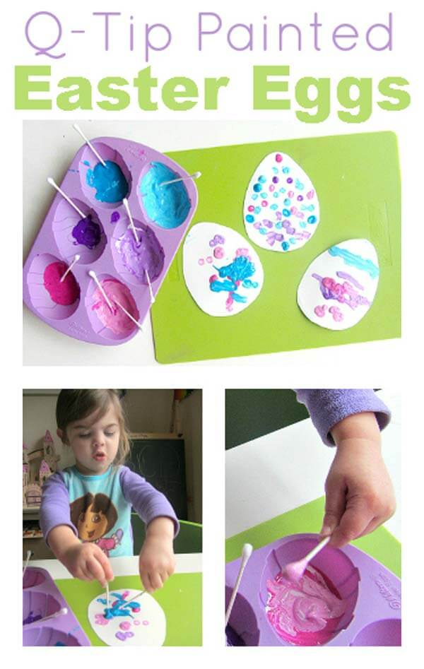 Q-tip-painted-Easter-eggs DIY Cute and Creative Easter Crafts For Kids