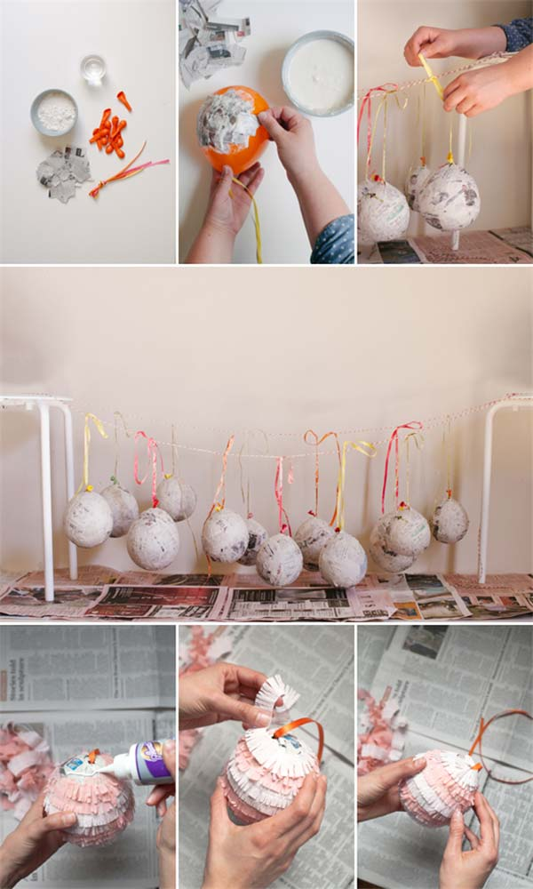 RECYCLED-PAPER-GLOBE-DECORATIONS-Easter-Crafts-for-Kids DIY Cute and Creative Easter Crafts For Kids