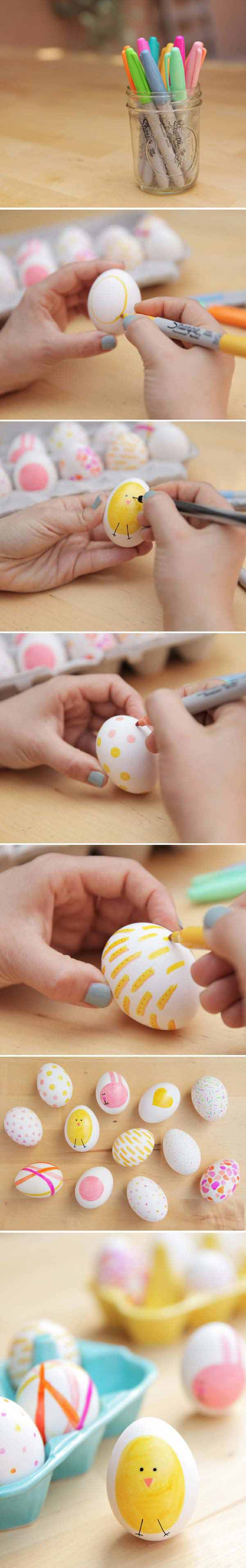 USE SHARPIES TO DECORATE A FEW EASTER EGGS DIFFERENTLY-Easter-Crafts DIY Cute and Creative Easter Crafts For Kids