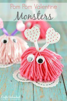 Valentine Craft Pom Pom Monsters Tutorial 30+ Easy Valentine's Day Crafts for Kids