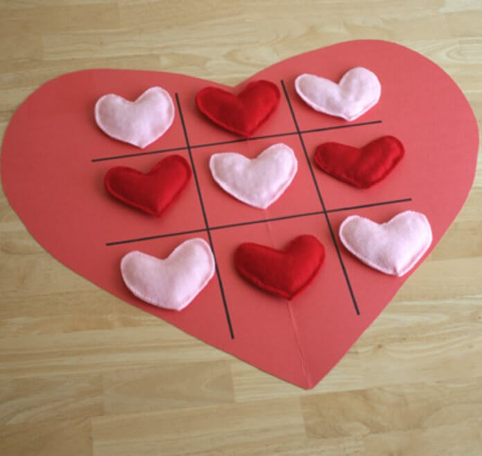 Valentine-Tic-Tac-Toe-Heart 30+ Easy Valentine's Day Crafts for Kids
