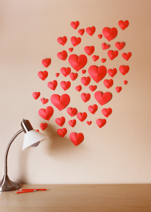 Wall-of-Paper-Hearts 30+ Easy Valentine's Day Crafts for Kids