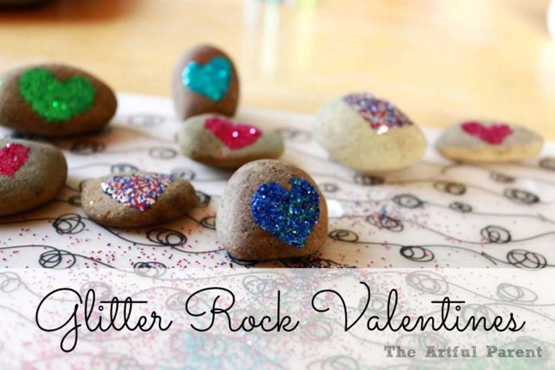 glitter-rock-valentine 30+ Easy Valentine's Day Crafts for Kids