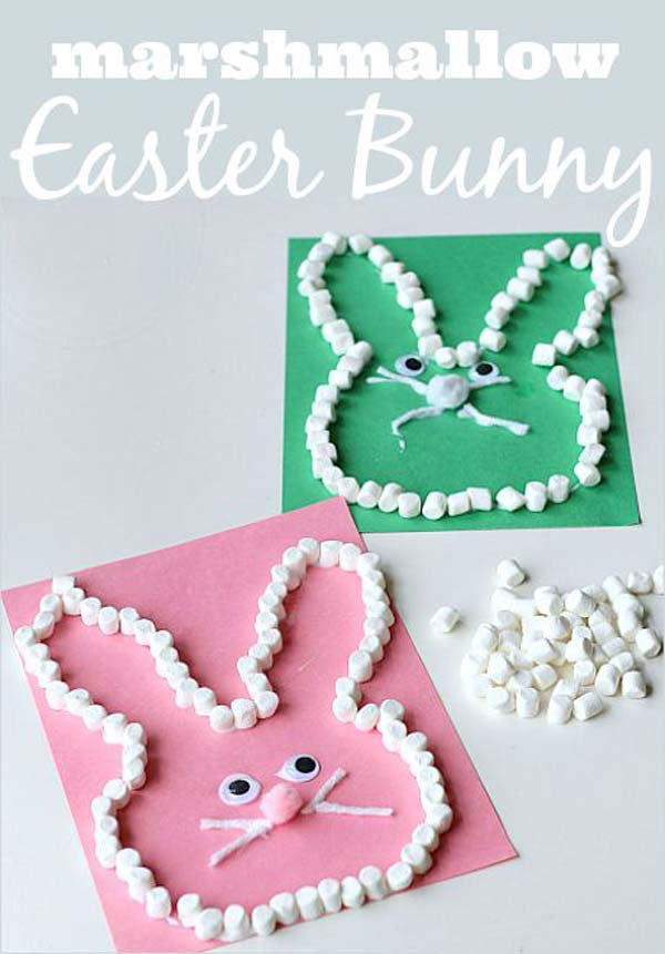 marshmallo-Easter-bunny DIY Cute and Creative Easter Crafts For Kids