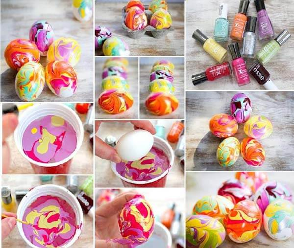 nail-polish-decorated-Easter-eggs DIY Cute and Creative Easter Crafts For Kids