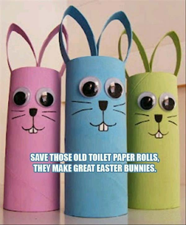 toilet-paper-roll-Easter-bunny DIY Cute and Creative Easter Crafts For Kids
