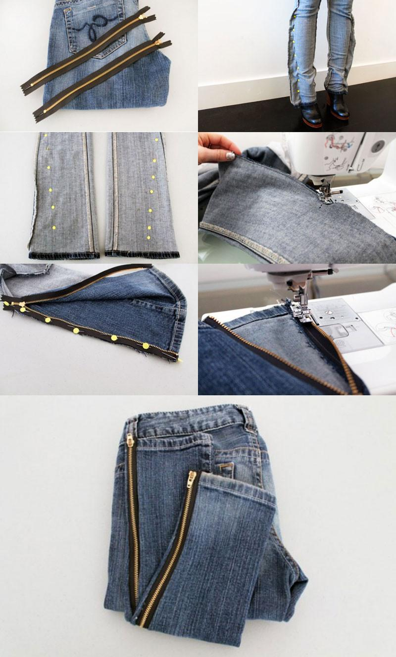 Bootcut-Jeans-into-Skinny-Jeans-k4craft DIY Craft Tutorials to Refashion Your Old Jeans - Step by step