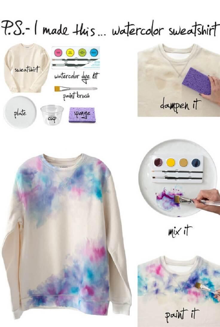 Cool-Watercolor-DIY-Sweatshirt-k4craft DIY Clothing Hacks to Refashion Your Clothes