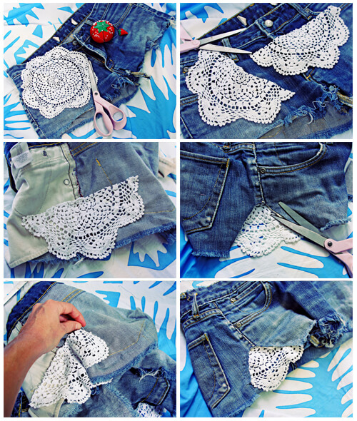 Crochet-Cutoffs-jeans-shorts-k4craft DIY Craft Tutorials to Refashion Your Old Jeans - Step by step