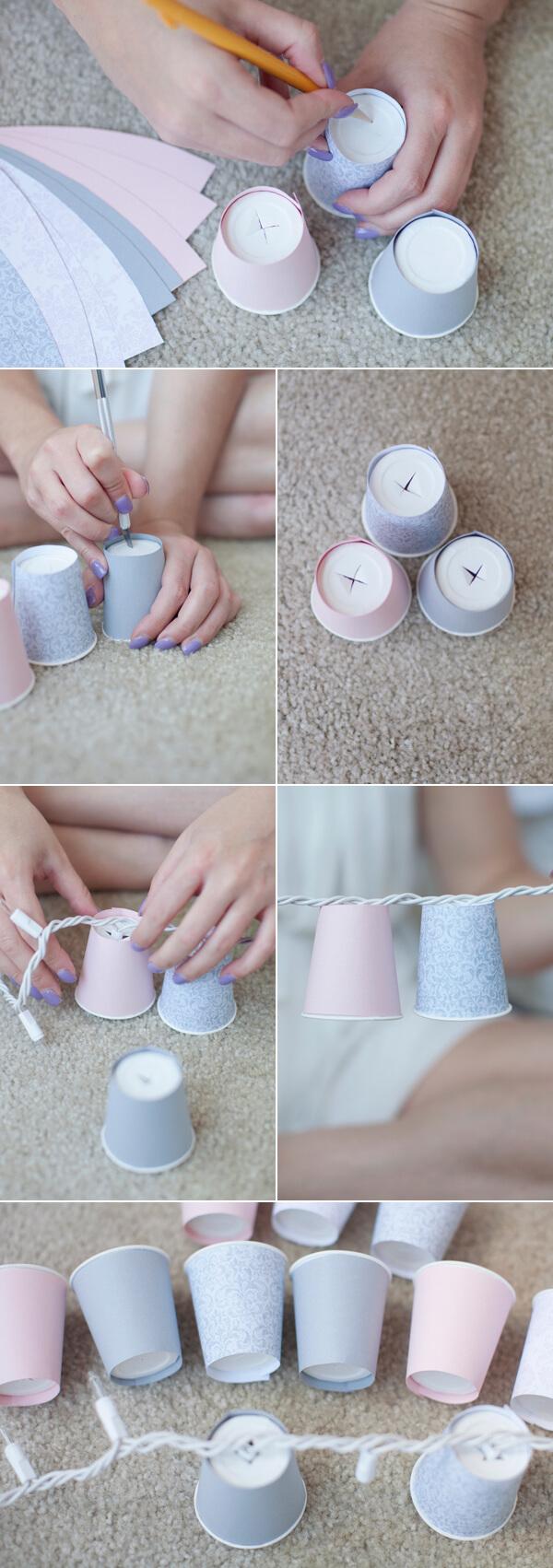 DIY-Dixie-Cup-Light-Garland-k4craft-DIY Cup String Lights - Home Decoration Ideas