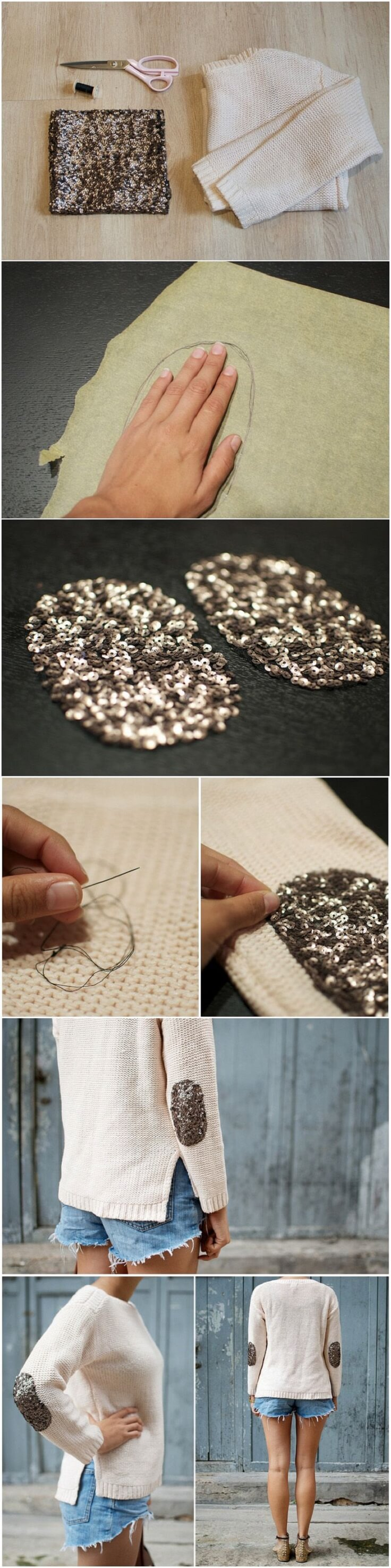 DIY-Glitter-Elbow-Patch-Sweater-k4craft DIY Clothing Hacks to Refashion Your Clothes