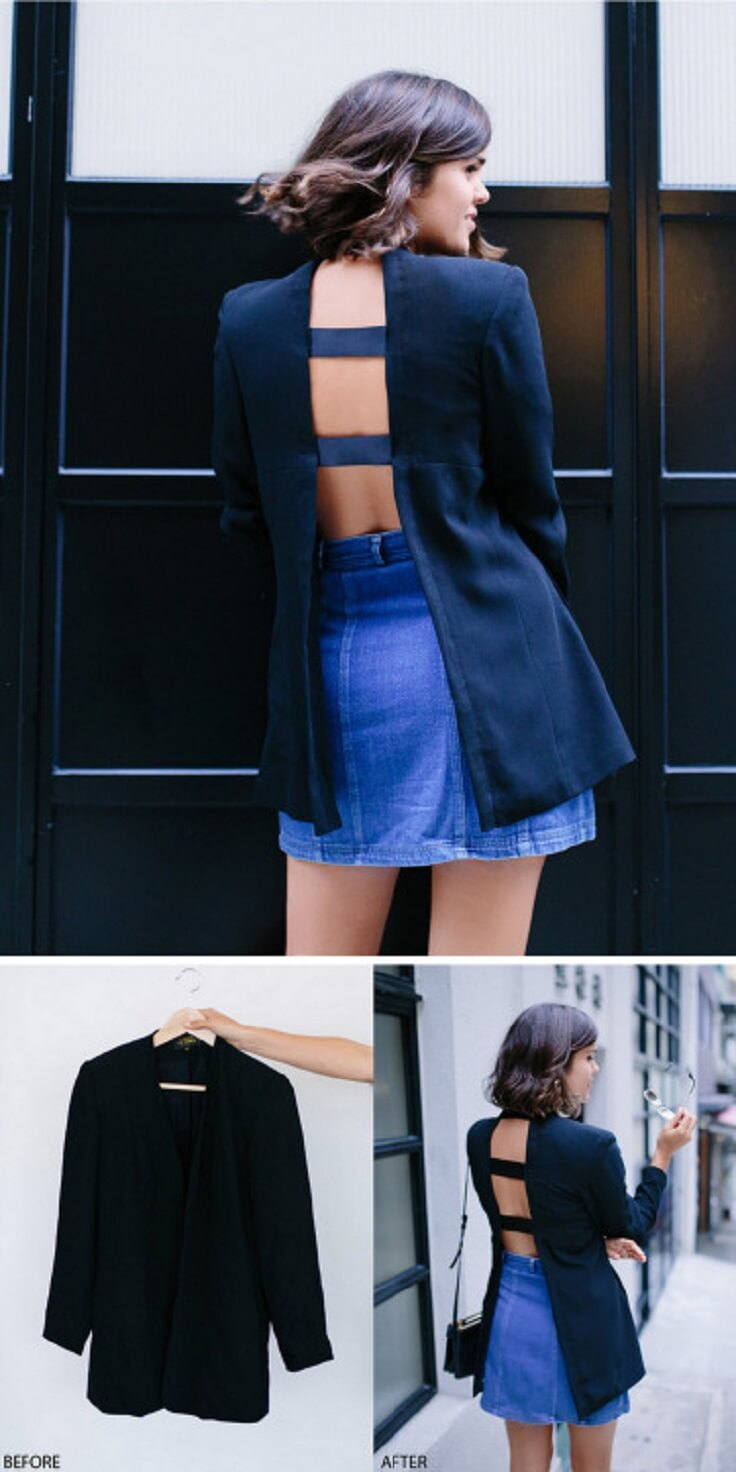 DIY-Open-Back-Blazer-k4craft DIY Clothing Hacks to Refashion Your Clothes