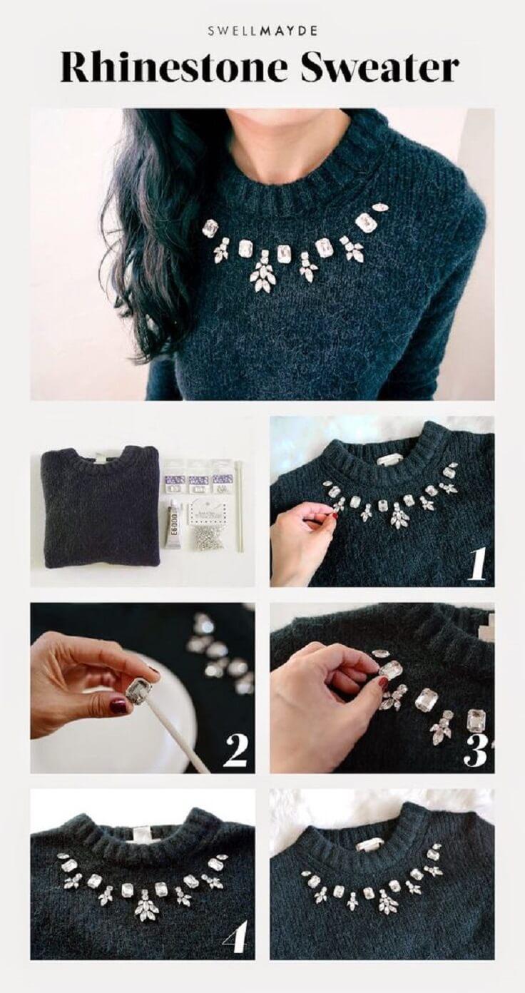 Elegant-Rhinestone-DIY-Sweater-k4craft DIY Clothing Hacks to Refashion Your Clothes