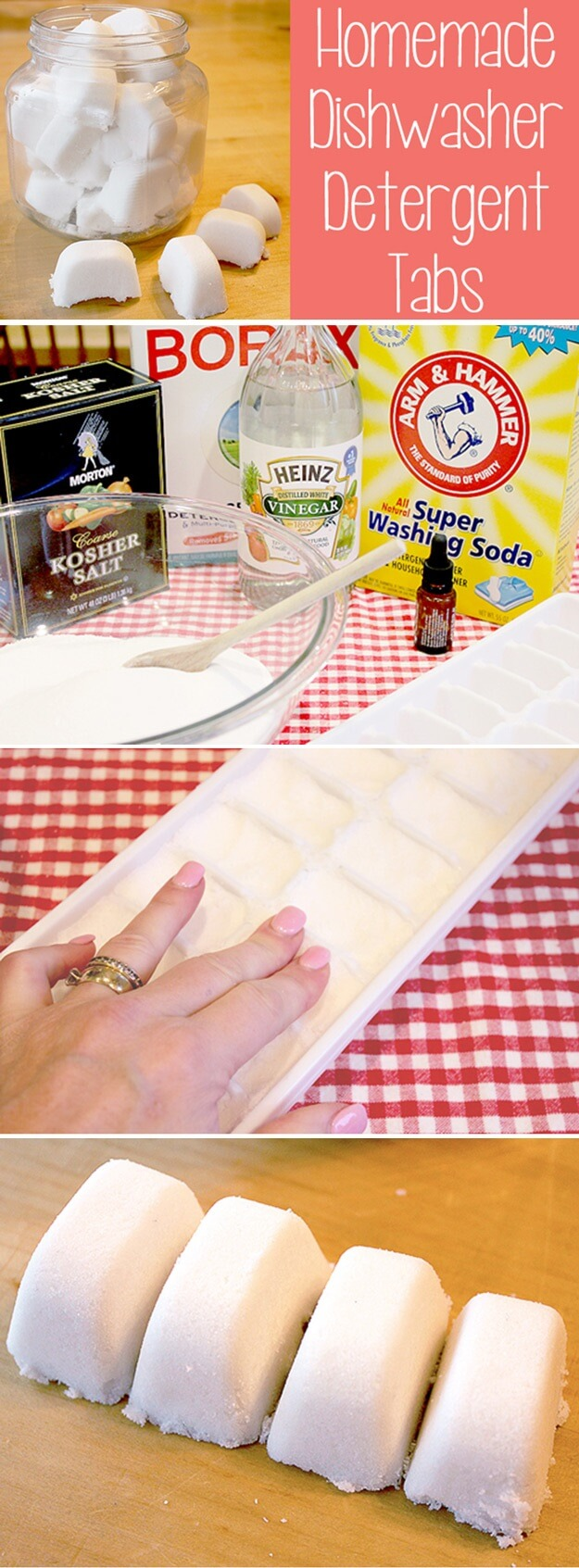 Homemade-Dishwasher-Detergent-Tabs-k4craft Clever DIY Projects: Creative way to Use of Ice Cube Tray