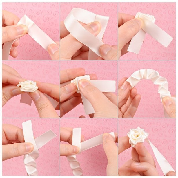 How-to-make-a-ribbon-rosette-k4craft-step-by-step How to make a ribbon rosettes, ribbon roses (Tutorial)