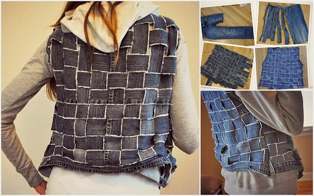 Old-Jeans-into-Vest-k4craft-DIY Craft Tutorials to Refashion Your Old Jeans - Step by step