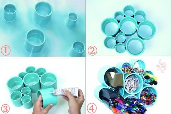 PVC-Pipe-Desk-Organizer DIY Creative Uses Of PVC Pipes - Step by step
