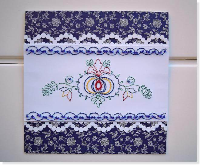 Paper-Embroidery-card-k4craft-DIY: Folk Style on paper - Paper Embroidery