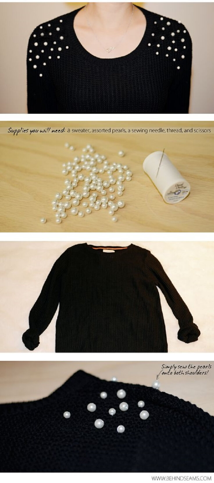 Pearl-Embellished-DIY-Sweather-Shoulders-k4craft DIY Clothing Hacks to Refashion Your Clothes
