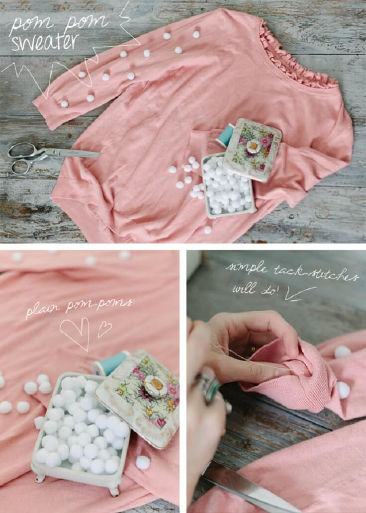 Pom-Pom-DIY-Sweater-Tutorial-k4craft DIY Clothing Hacks to Refashion Your Clothes