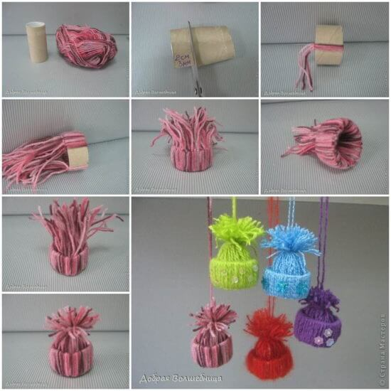 Yarn-Hat-Ornaments-k4craft Awesome DIY Yarn Projects (Easy) - Step by step