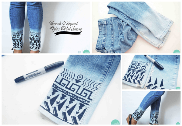 bleach-aztec-jeans-k4craft DIY Craft Tutorials to Refashion Your Old Jeans - Step by step