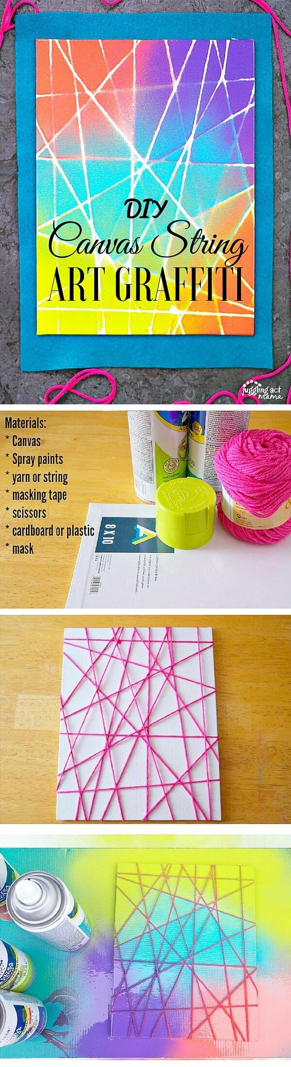 canvas-string-art-graffiti-k4craft Easy DIY Home Decor Crafts - Step by step