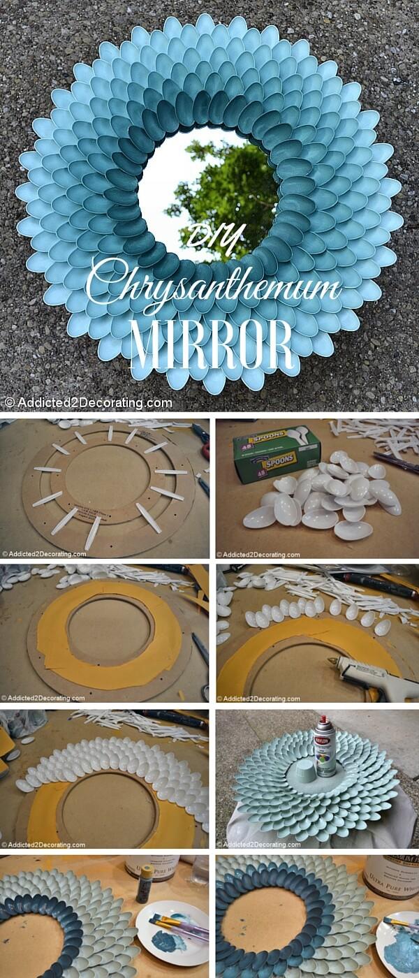 decorative-chrysanthemum-mirror-k4craft Easy DIY Home Decor Crafts - Step by step
