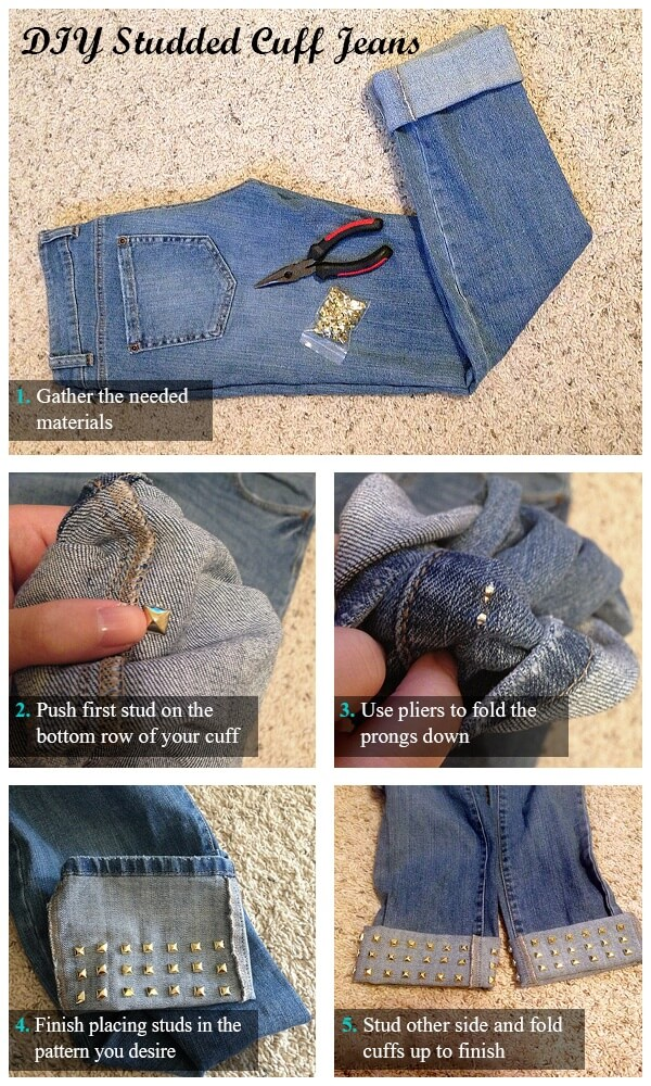 diy-studded-cuff-jeans-k4craft DIY Craft Tutorials to Refashion Your Old Jeans - Step by step