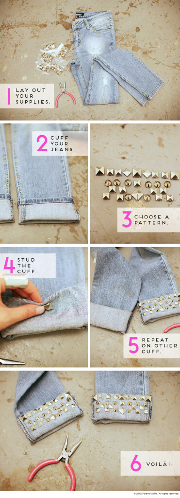diy-studded-cuff-jeans2-k4craft DIY Craft Tutorials to Refashion Your Old Jeans - Step by step