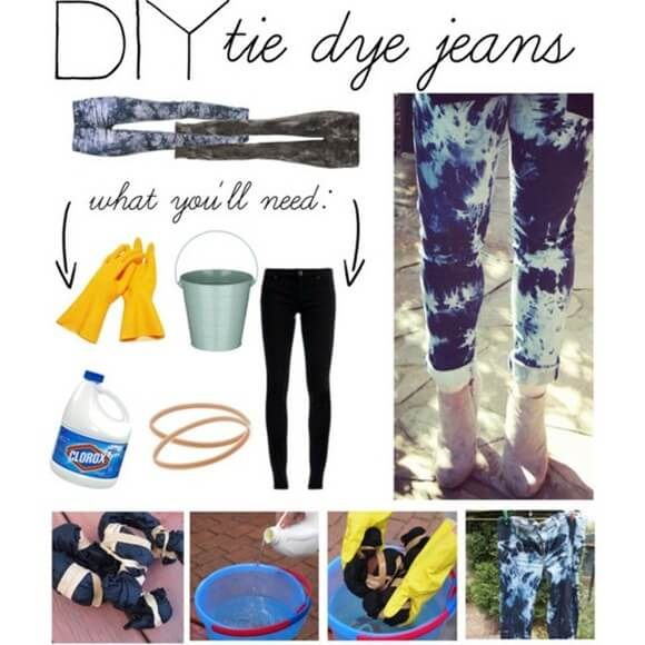 diy-tyedye-jeans-k4craft DIY Craft Tutorials to Refashion Your Old Jeans - Step by step