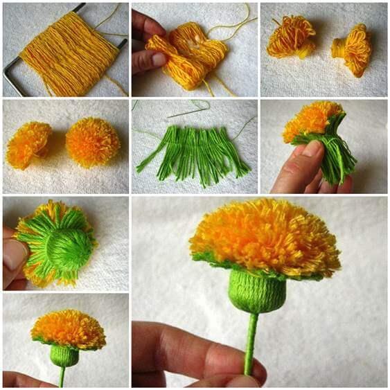 diy-yarn-yellow-flower-craft-k4craft Awesome DIY Yarn Projects (Easy) - Step by step