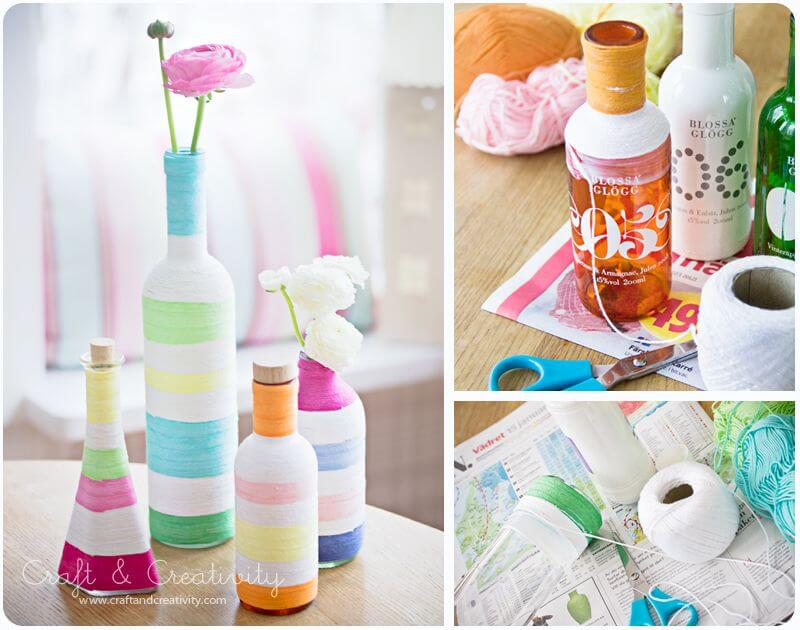 glass-bottle-decor-no-knit-yarn-craft-k4craft Awesome DIY Yarn Projects (Easy) - Step by step