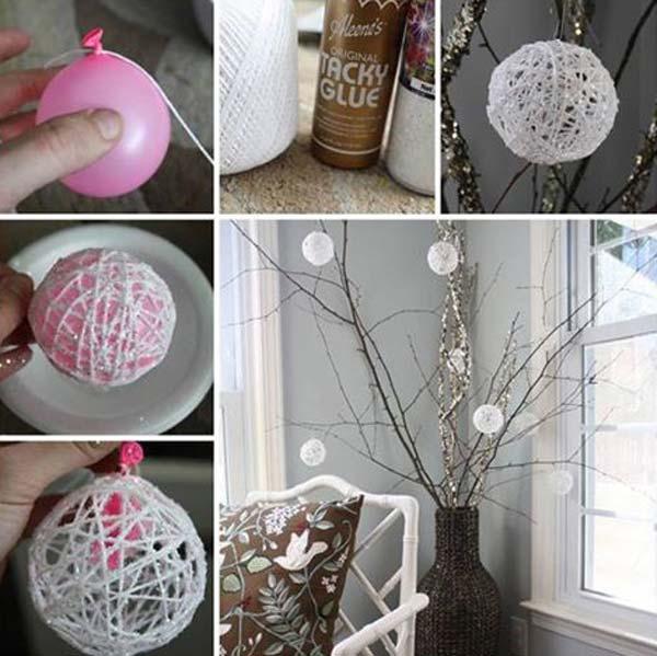 glittery-string-snowballs-k4craft Easy DIY Home Decor Crafts - Step by step