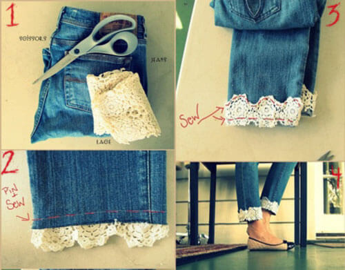 lace-bottom-jeans-k4craft DIY Craft Tutorials to Refashion Your Old Jeans - Step by step