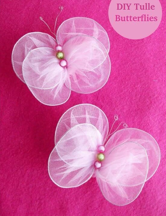 make-tulle-butterflies-using-wire-k4craft-How to make No-Sew Tulle Butterflies (Tutorial)