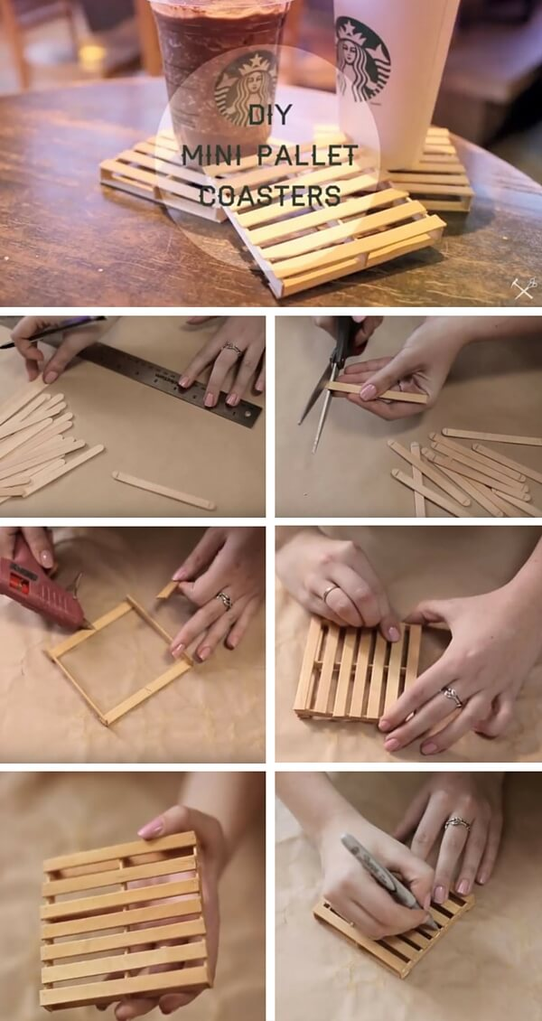 mini-pallet-coasters-k4craft Easy DIY Home Decor Crafts - Step by step