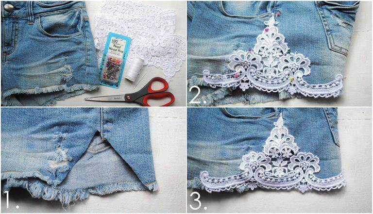 old-denim-jeans-lace-decorated-k4craft DIY Craft Tutorials to Refashion Your Old Jeans - Step by step