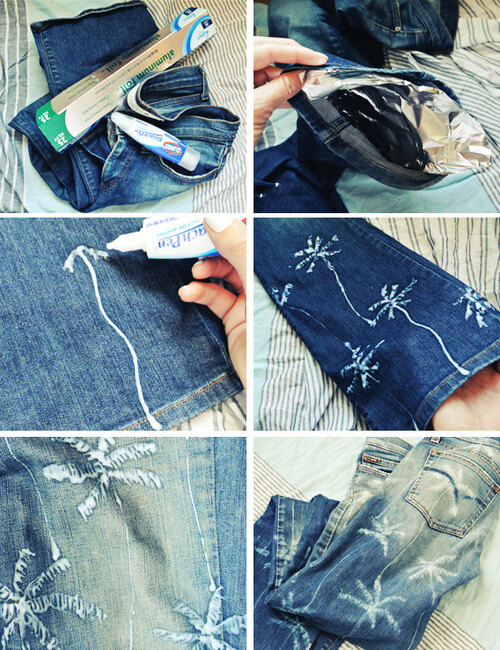 palm-tree-jeans-k4craft DIY Craft Tutorials to Refashion Your Old Jeans - Step by step