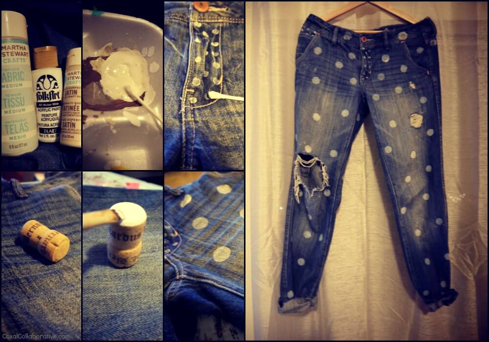 polka-dot-jeans-k4craft DIY Craft Tutorials to Refashion Your Old Jeans - Step by step
