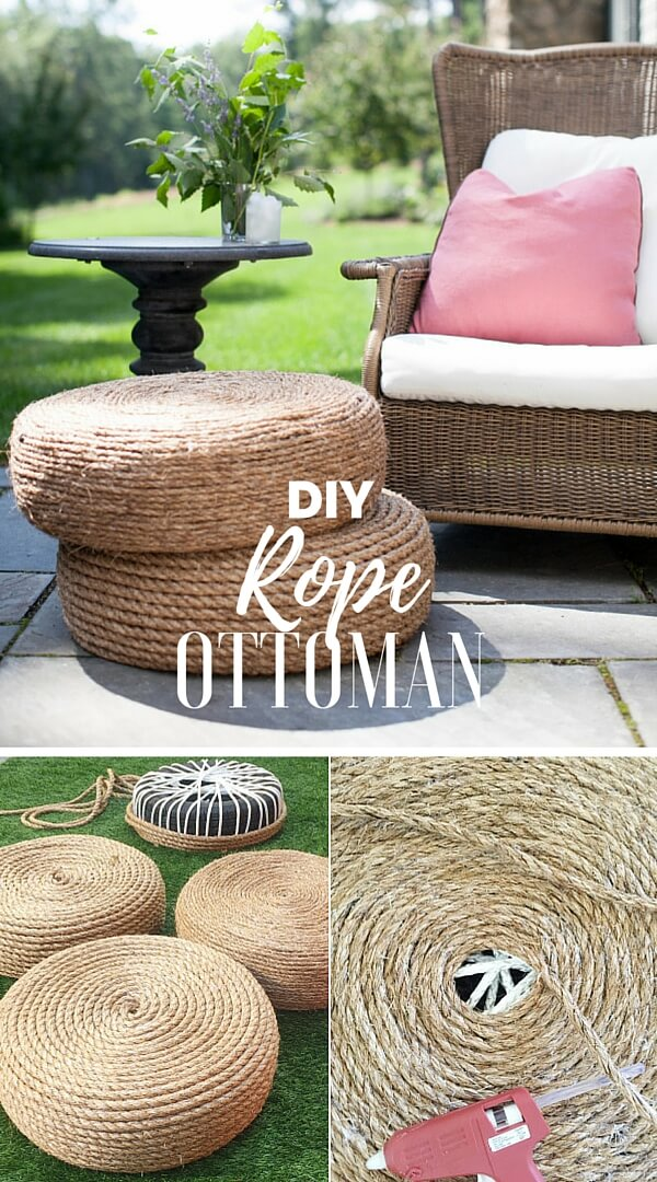 rope-ottoman-k4craft Easy DIY Home Decor Crafts - Step by step