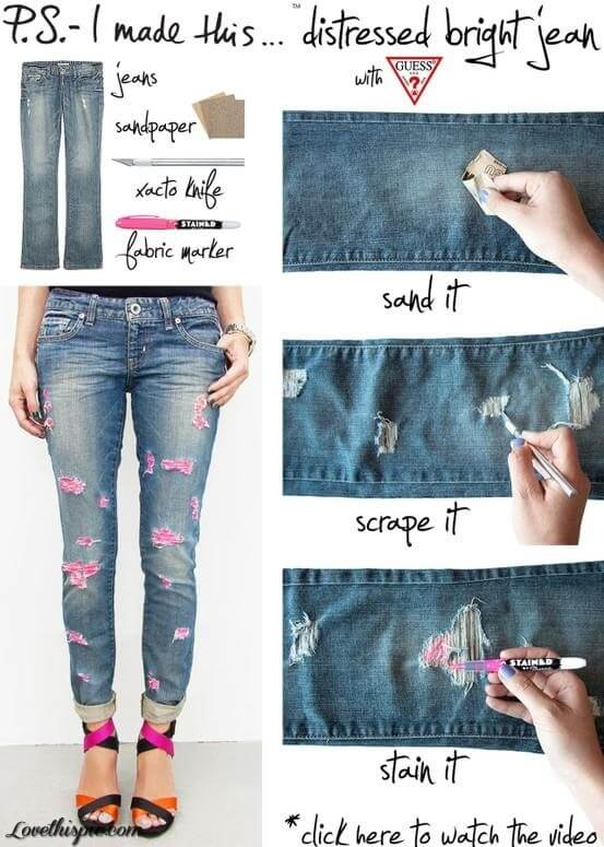stain-rip-jeans-k4craft DIY Craft Tutorials to Refashion Your Old Jeans - Step by step