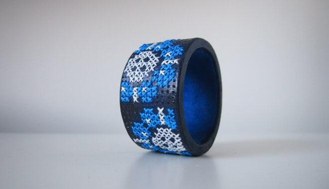 Embroidered-bracelet-DIY Stitched wood Cuff / Embroidered bracelet