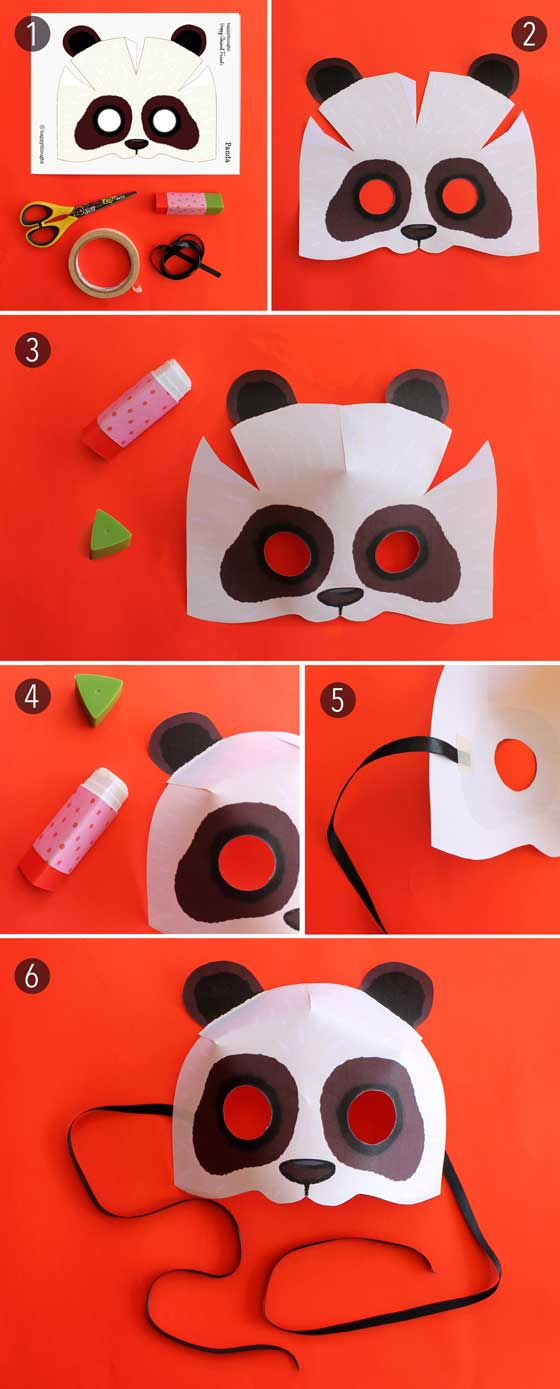 panda-mask-paper-cutout-pattern DIY Simple Animal face mask Craft Ideas for kids