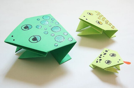 Diagrams for origami jumping frog. | Origami crafts, Origami frog ... | 297x450