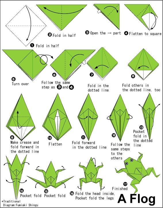 3d Origami origami animals frog that jumps easy step by step far ... | 722x567