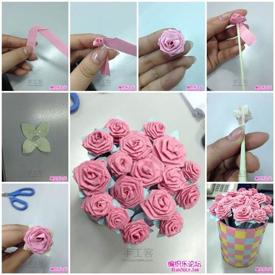 DIY Origami Paper Rose Bouquet
