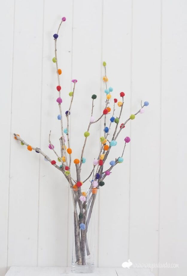 A Pom-Pom Branch Bouquet Cheap And Easy Last-Minute DIY Gifts Ideas