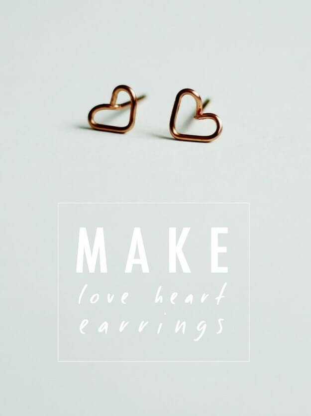 Tiny Wire Heart Earrings Cheap And Easy Last-Minute DIY Gifts Ideas