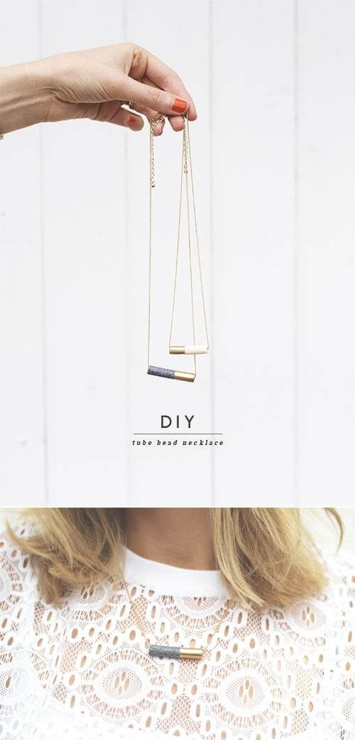 Tube Bead Necklace Cheap And Easy Last-Minute DIY Gifts Ideas